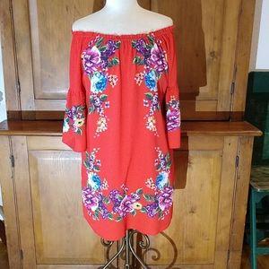 Umgee On/Off the Shoulder Red Dress